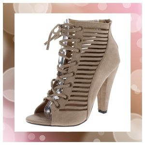 Lace Up Laser Cut Ankle Boot ~Nude